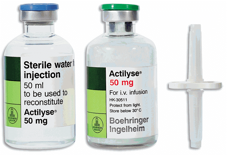 Bottles of clot-buster medication to treat brain stem stroke.