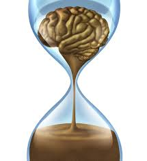 A brain drips through an hour glass to signify brain death over time, often due to malpractice