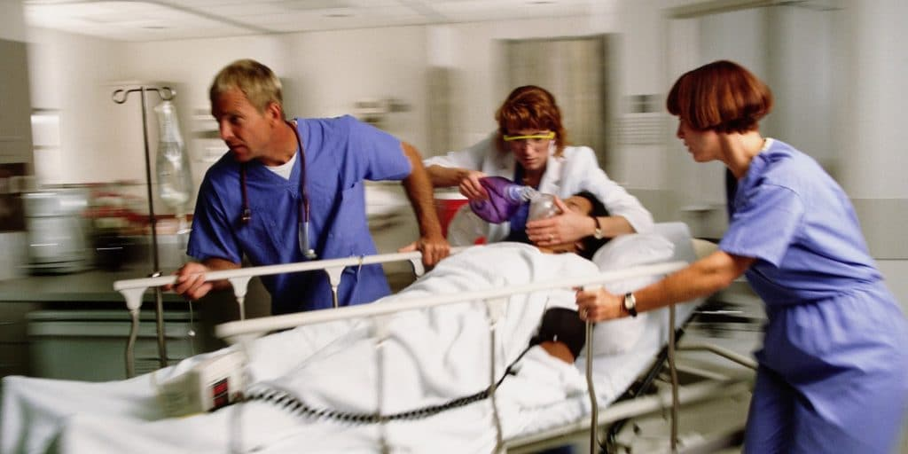 A patient is rushed into the ER after a stroke, perhaps because of a delayed diagnosis or misdiagnosis of stroke