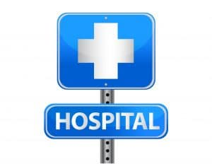 A hospital street sign in blue and white.